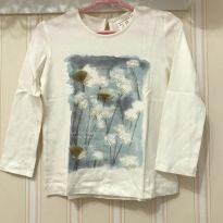 Camiseta Manga Longa Off White Flowers - ZARA - 2 anos - Zara
