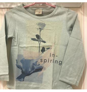 Camiseta Manga Longa Flor Verde Claro - ZARA - 3 anos - Zara
