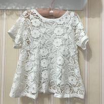Blusa Off White Rendada - ZARA - 6 anos - Zara