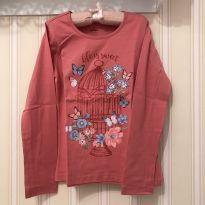 """Camiseta Manga Longa""""Life is Sweet""""Rosa - 7 anos - Fuzarka"""
