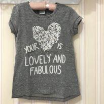 Camiseta Cinza Mescla Coração - 8 anos - Fuzarka