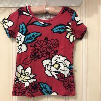 Camiseta canelada baby look pink floral - 8 anos - Hering