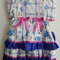 Vestido de Festa Junina Azul - 4 anos - Não informada