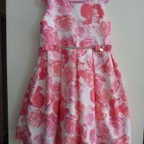 Vestido de festa florido com laços e perolas na cintura - 6 anos - Pupi