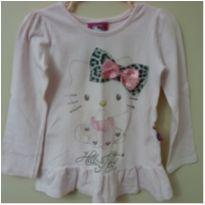 Camiseta manga longa rosa com babado da Hello Kitty - 4 anos - Hello  Kitty