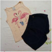 Conjunto de regata flamingo com shorts saia azul - 6 anos - Alakazoo!