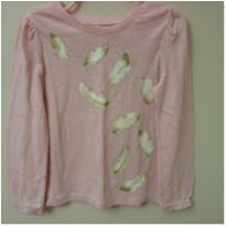 Camiseta manga longa rosa com estampa de penas - 4 anos - Cherokee