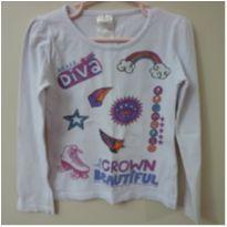 Camiseta manga longa branca Princess - 6 anos - Cara Metade