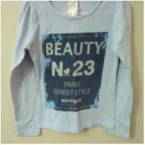 Camiseta manga longa azul Beauty - 6 anos - Cara Metade
