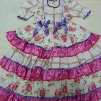 Vestido de Festa Junina Rosa - 2 anos - Não informada