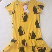 Vestido amarelo gatos - 5 anos - Pat