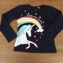 Camiseta manga longa unicórnio - 4 anos - Palomino