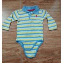 Body listrado azul e amarelo - 6 a 9 meses - Teddy Boom