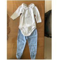 Conjunto body manga longa e calça 100% algodão pima