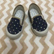Sapato azul com bolinhas douradas - 23 - Pimpolho