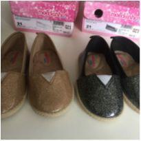sapato glitter para gêmeas - lote 2 pares - 21 - Molekinha
