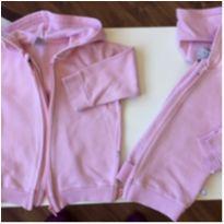 casaco moletom flanelado com capuz rosa - lote 2 unidades opção gêmeas - 1 ano - Hering Kids