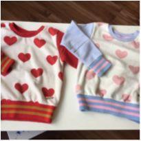 blusa moletom coração com pelúcia - lote 2 unid p gêmeas - 2 anos - Bugbee