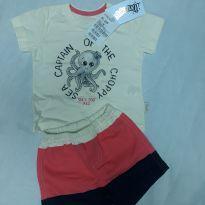Conjunto shorts e camiseta Alakazoo polvo - 3 a 6 meses - Alakazoo!
