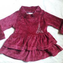 Vestido aveludado bordô Paris - 9 a 12 meses - Marca não registrada