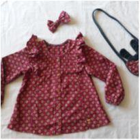 camisa infantil manga longa com acessórios: bolsinha e laço de cabelo - 4 anos - Marca não registrada