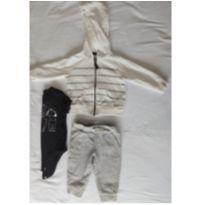 Conjunto Moletom, Calça e Body Preto - 6 meses - Carter`s
