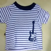 camiseta listrada guitarra - 0 a 3 meses - Miss & Mister Baby