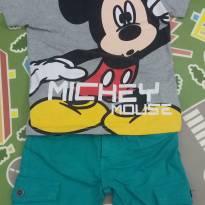 Conjunto camisa Mickey  e bermuda verde - 2 anos - Crawling