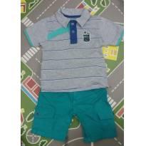Conjunto camisa e bermuda verde e cinza - 2 anos - Marisol e outra
