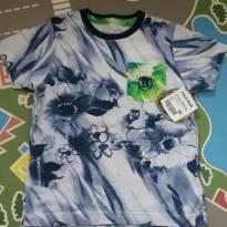 Camiseta floral marinho com bordado tam 04 - 4 anos - Polo Wear