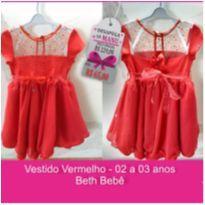 Vestido Vermelho Beth Bebê - 2 anos - Beth Bebê