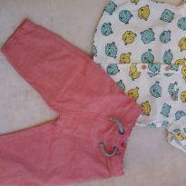 Calça e camisa - 9 a 12 meses - Alphabeto