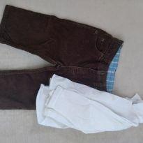 Calça veludo carters e camisa branca - 6 a 9 meses - Carter`s