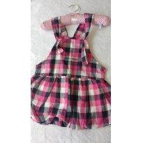 Vestidinho Xadrez tipo jardineira - 6 a 9 meses - Kiko baby