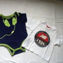 Body DKNY e camiseta NB 6 a9 meses - 6 a 9 meses - DKNY