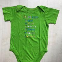 Body Verde Manga Curta - 9 a 12 meses - Children`s Place