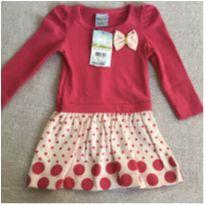 Vestido bolinhas- Rosa - 6 a 9 meses - Angerô