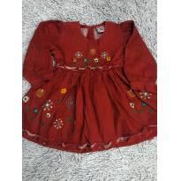 Vestido Veludo de manga comprida Bordado com forro na saia - 2 anos - Fofinho