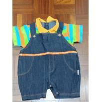 Macaquinho jeans com camisa grudada para bebê. - 9 a 12 meses - Keko Baby