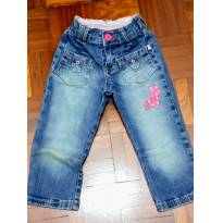 Calça jeans com detalhe bordado na perna. - 1 ano - Tex