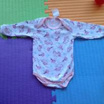 Body Manga Longa Rosa Bebê 06 a 09 meses - 6 a 9 meses - Petutinha