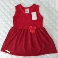 Vestido vermelho lindo! - 3 a 6 meses - Não informada