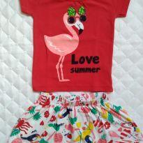 Conjuntinho Love Summer - 3 a 6 meses - etiqueta foi cortada