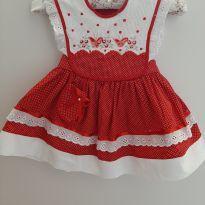 Vestido poá vermelho com renda - 3 meses - Artesanal