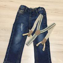 Calça Jeans com suspensório - 9 a 12 meses - Marisol