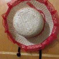 Chapéu de caipirinha / festa junina vermelho com tranças pretas - Único - Não informada