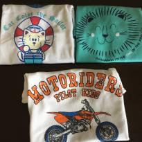 Kit com 3 camisetas - marcas diversas - tamanho 2 - 18 a 24 meses - Tex