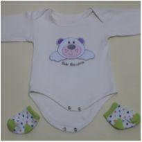 Body Ursinho com Meia - 0 a 3 meses - Bebê Brincalhão
