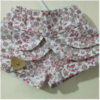 Shorts-Saia Floral - 3 a 6 meses - Não informada