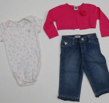 Conjunto Passeio Menina- Calça Guess Body Casaquinho(3 peças) -  3 a 6 meses